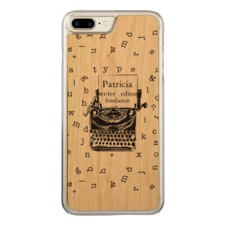 Retro Typewriter Showing  Real Wood  Grain Carved iPhone 8 Plus/7 Plus Case
