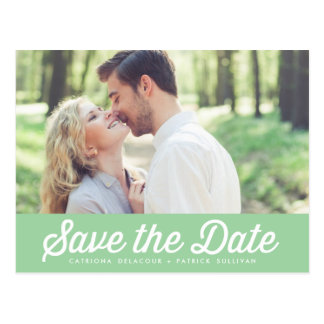 RETRO TYPOGRAPHY MINT GREEN SAVE THE DATE POSTCARD