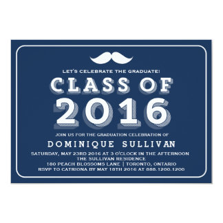 Retro Typography | Navy Moustache Graduation 2016 Card