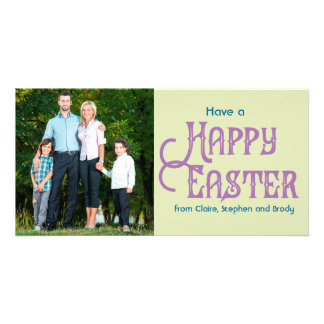 Retro Typography Photo Easter Card Light Green Photo Greeting Card