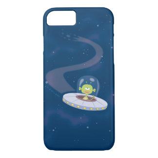 Retro UFO flying through space iPhone 7 Case