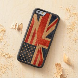 Retro UK-USA Flag Wood iPhone Case