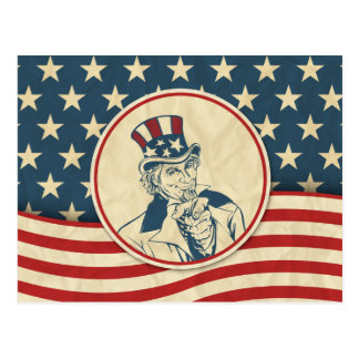 Retro Uncle Sam Stars and Stripes Postcard
