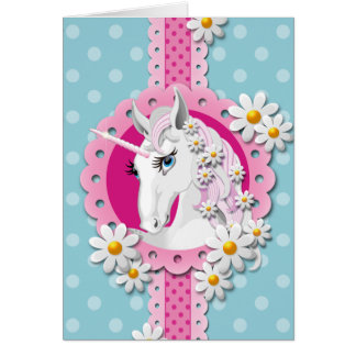 Retro Unicorn Pattern in Pink on Blue Card