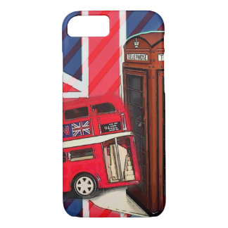 Retro Union Jack London Bus red telephone booth iPhone 7 Case