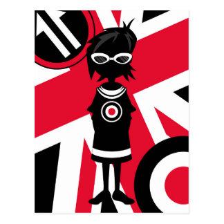 Retro Union Jack Mod Girl Silhouette Postcard