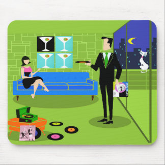 Retro Urban Cartoon Couple Mousepad