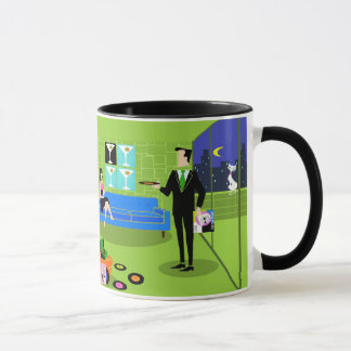 Retro Urban Cartoon Couple Mug
