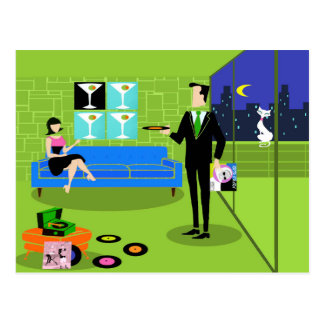 Retro Urban Cartoon Couple Postcard