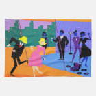 Retro Urban Rooftop Party Kitchen Towel