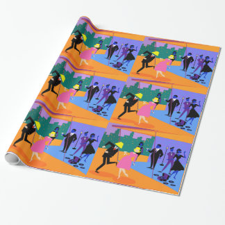 Retro Urban Rooftop Party Wrapping Paper