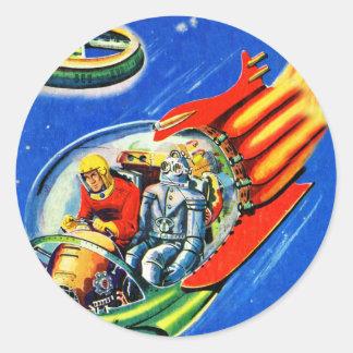 Rétro vaisseau spatial vintage de voyage dans sticker rond