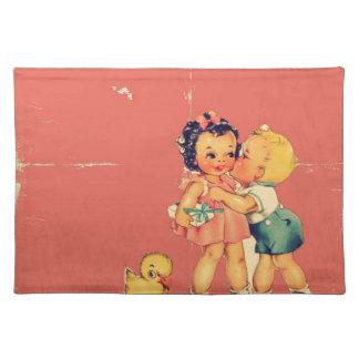 Retro Valentine Kitsch Vintage Kids Placemats