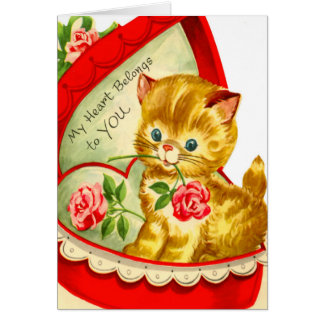 Retro Valentine ~ Kitten in a Candy Box Card