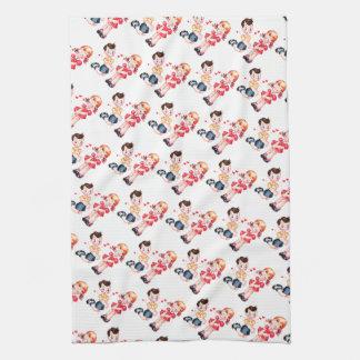 Retro Valentine's Girl & Boy Kitchen Towel