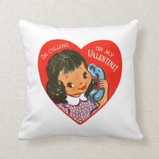 Retro Valentine's Girl Throw Pillow