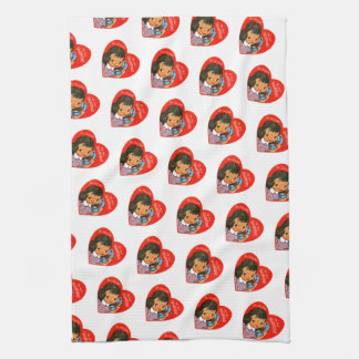 Retro Valentine's Girl with Red Heart Kitchen Towel