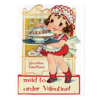 Retro Valentine's Day Maid Postcard