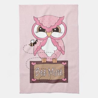 Retro Valentine's Day Owl Kitchen Towel