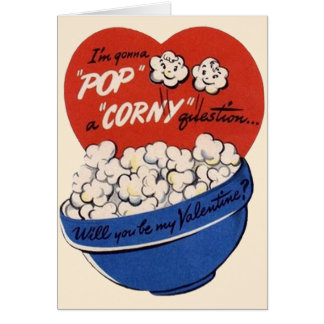Retro Valentines Day, Popcorn Pop a Corny Question Card