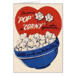 Retro Valentines Day, Popcorn Pop a Corny Question Greeting Card