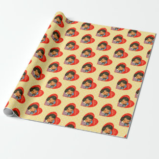Retro Valentines Girl/Hearts Wrapping Paper