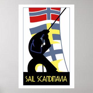 Retro vector art deco style Sail Scandinavia Poster