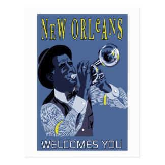 Retro vector Art New Orleans jazz trumpet player Postcard