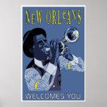 Retro vector Art New Orleans jazz trumpet player Poster