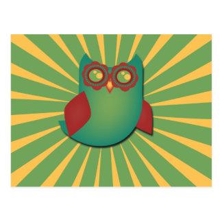 Retro Vector Owl Postcard