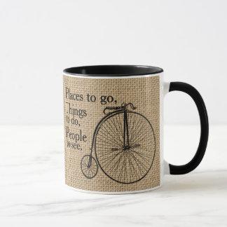 Retro Velocipede Bike Burlap Mug