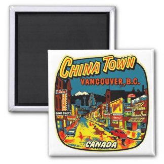 Rétro ville vintage Vancouver de la Chine de kitsc Magnet Carré