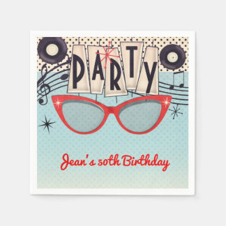 Retro Vintage 1950's Fifties Birthday Party Custom Disposable Napkin