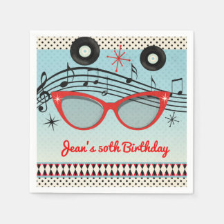 Retro Vintage 1950's Fifties Birthday Party Custom Paper Napkin