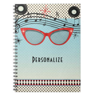 Retro Vintage 1950's Fifties Red Cat Eye Glasses Spiral Notebooks