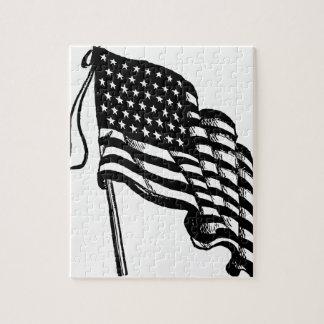 Retro Vintage American Flag Jigsaw Puzzle