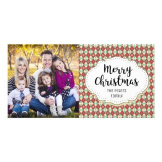 Retro Vintage Argyle Christmas Picture Photo Card