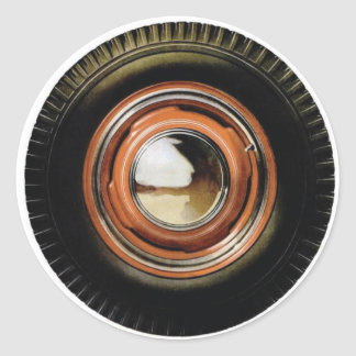 Retro Vintage Auto Car Big Old Tire Classic Round Sticker