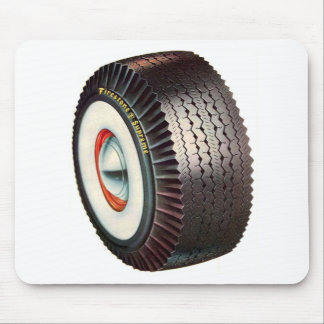 Retro Vintage Auto Car Big Whitewall Tire Mouse Pad