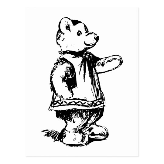 Retro Vintage Black & White Cute Teddy Bear Postcard