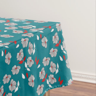 Retro Vintage Black, White, & Red Flowers Pattern Tablecloth