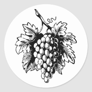 Retro Vintage Black & White Tasty Bunch of Grapes Round Sticker