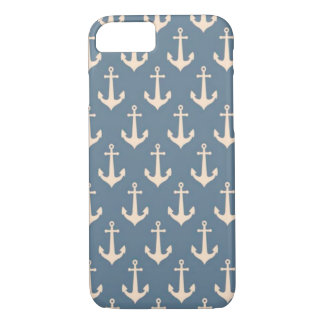 Retro Vintage Blue White Anchor Pattern iPhone 7 Case