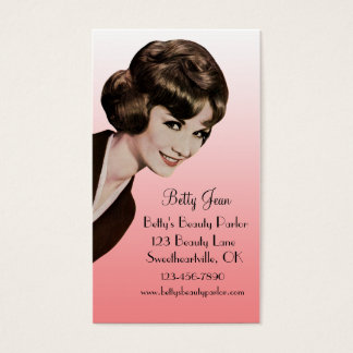 Retro Vintage Bouffant Pink Hairstylist Card