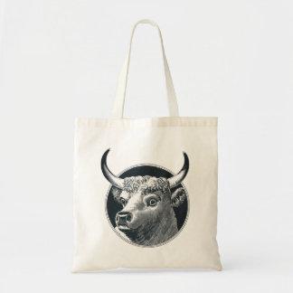 Retro Vintage Bull Cow Budget Tote Bag