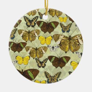 Retro Vintage Butterflies Pattern Round Ceramic Ornament