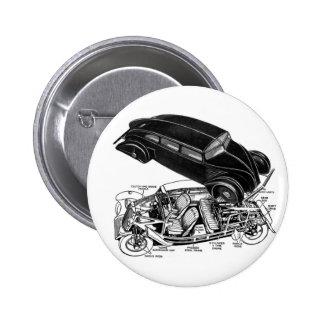 Retro Vintage Car 30's Rear-Engine Futuristic Auto 2 Inch Round Button
