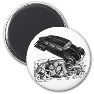 Retro Vintage Car 30's Rear-Engine Futuristic Auto Magnet
