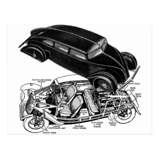 Retro Vintage Car 30's Rear-Engine Futuristic Auto Postcard