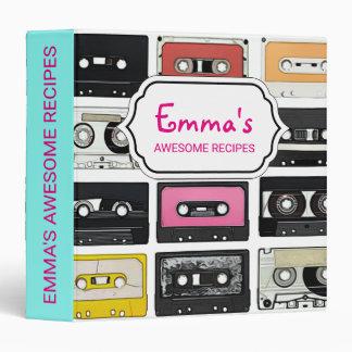 Retro vintage Cassette Mix Tapes art pattern 3 Ring Binder